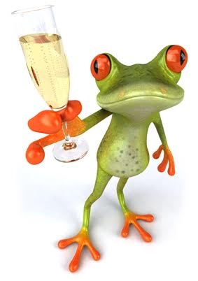 Green and orange frog holding a glass of champagne